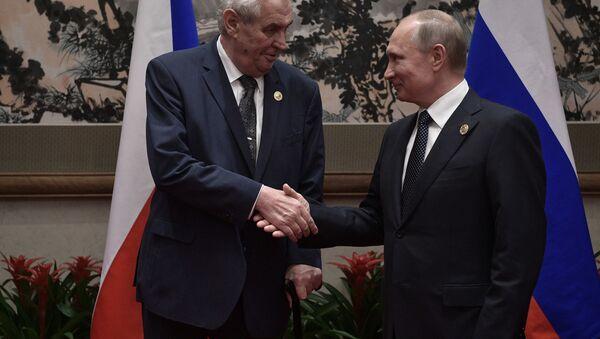 Prezydent Czech Milosz Zeman i prezydent Rosji Władimir Putin - Sputnik Polska