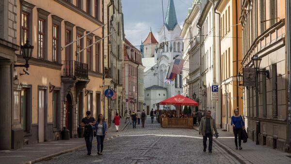 Ulica zamkowa i Kościół Matki Boskiej Bolesnej w Rydze - Sputnik Polska