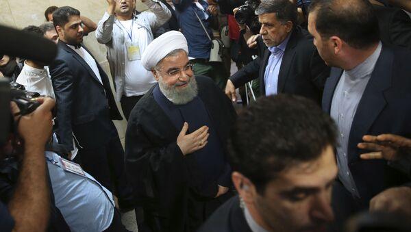 Hasan Rouhani w czasie rejestracji na kandydata w wyborach prezydenckich - Sputnik Polska