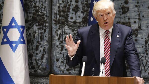 Prezydent USA Donald Trump podczas wizyty w Izraelu - Sputnik Polska