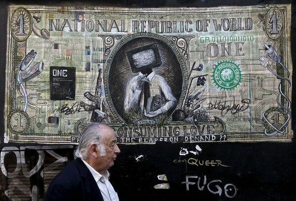 Polityczne graffiti na ulicach Aten - Sputnik Polska