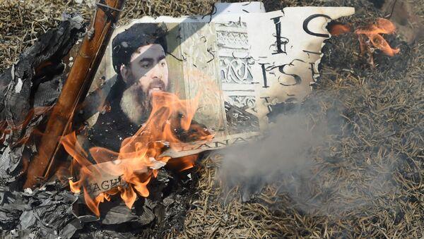 Płonący plakat z wizerunkiem przywódcy ugrupowania terrorystycznego Daesh Abu-Bakr al-Baghdadiego - Sputnik Polska