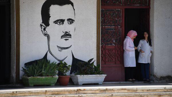 Graffiti przed wejściem do zakładu mleczarskiego w Homs - Sputnik Polska