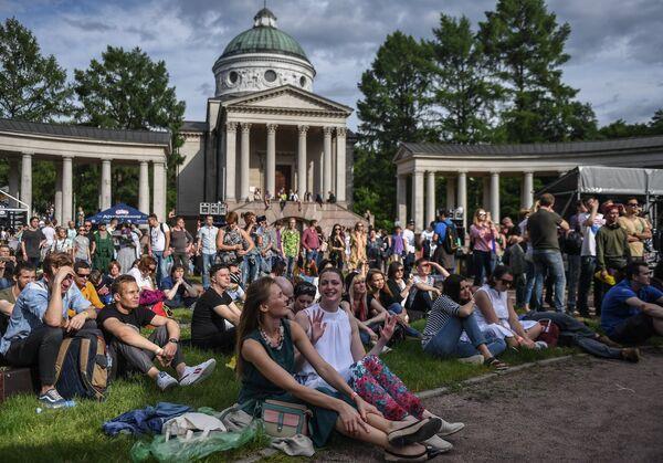 Goście XIV Międzynarodowego Festiwalu Usad'ba Jazz w muzeum folwarku Archangielskoje. - Sputnik Polska