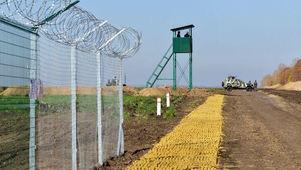 Ukraińscy funkcjonariusze straży granicznej obok ogrodzenia na granicy Rosji i Ukrainy - Sputnik Polska