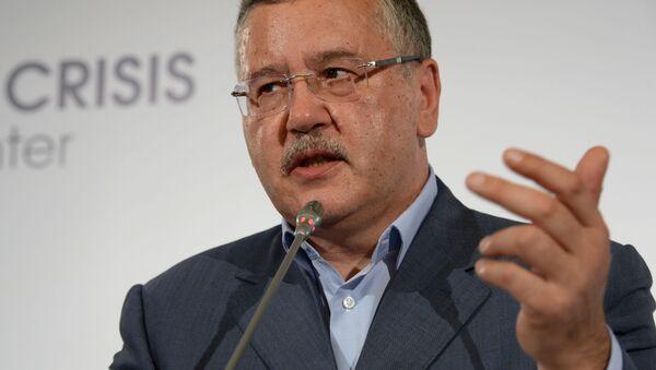 Lider partii politycznej Pozycja Obywatelska Anatolij Hrycenko podczas briefingu prasowego - Sputnik Polska