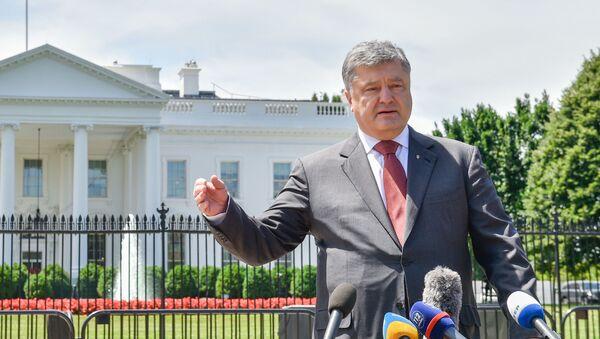 Prezydent Ukrainy Petro Poroszenko występuje przed dziennikarzami po spotkaniu z prezydentem USA Donaldem Trumpem - Sputnik Polska