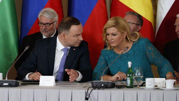 Donald Trump, Andrzej Duda i Kolinda Grabar-Kitarović na spotkaniu w Warszawie - Sputnik Polska