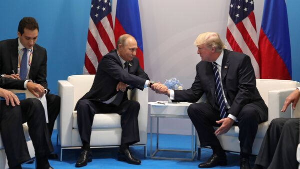 Władimir Putin i Donald Trump pdczas spotkania w kuluarach szczytu G20 w Hamburgu - Sputnik Polska