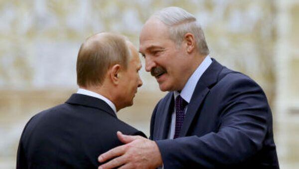 Владимир Путин и Александр Лукашенко на саммите в Минске - Sputnik Polska