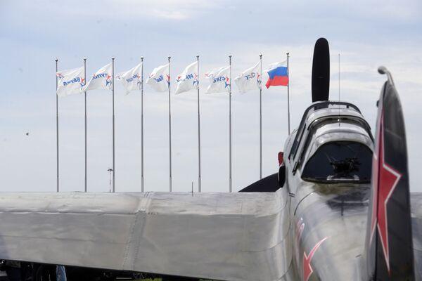 Samolot IL-2 (1942 r.) na poligonie podczas przygotowań do otwarcia Międzynarodowego Salonu Lotniczego i Kosmicznego MAKS-2017 w Żukowskim. - Sputnik Polska