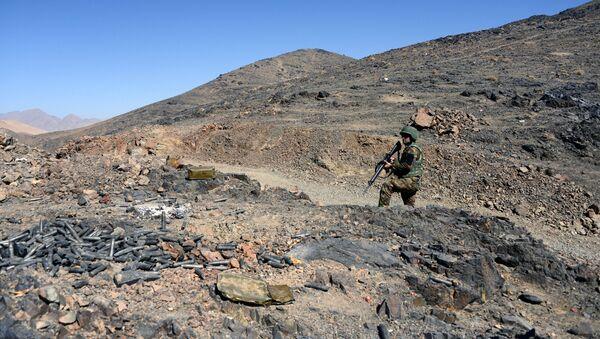 Żołnierz Afgańskiej Armii Narodowej w czasie patrolu - Sputnik Polska