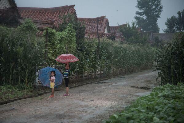 Dziewczynki skrywające się pod parasolem przed deszczem w Pjongjangu - Sputnik Polska