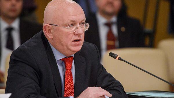 Wiceminister spraw zagranicznych Rosji Wasilij Nebenzja na posiedzeniu rady Zgromadzenia Parlamentarnego Organizacji Układu o Bezpieczeństwie Zbiorowym - Sputnik Polska