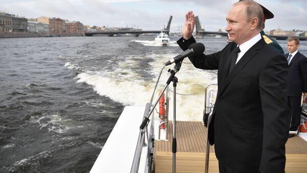 Parada z okazji Dnia Marynarki Wojennej Rosji w Petersburgu - Sputnik Polska