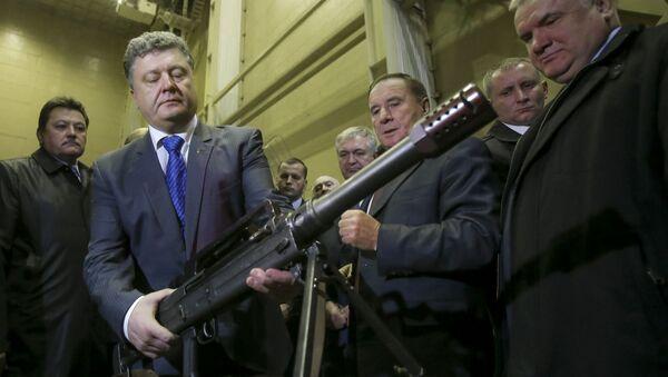 Prezydent Ukrainy Petro Poroszenko w przedsiębiorstwie Jużmasz - Sputnik Polska