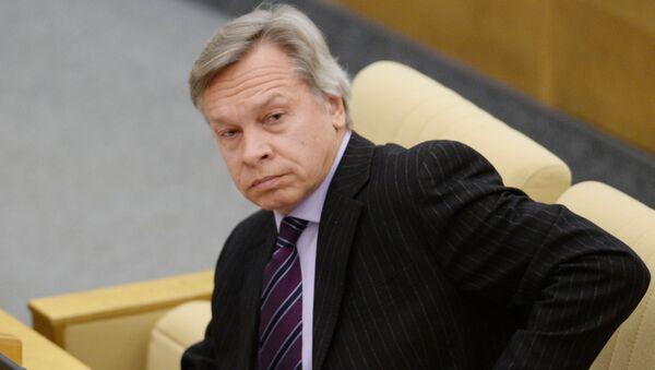 Szef Komisji do Spraw Zagranicznych Dumy Państwowej Aleksiej Puszkow - Sputnik Polska