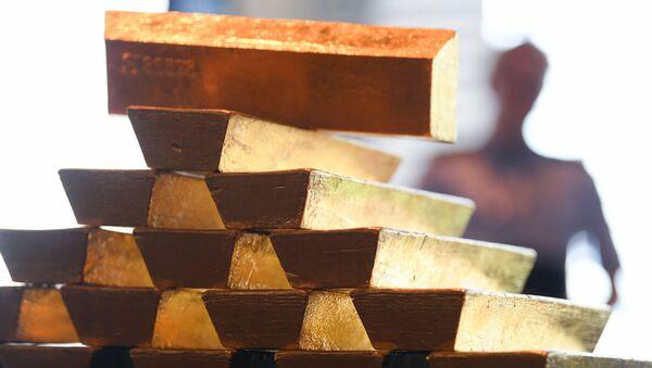 Sztabki złota w Centralnym Banku Niemiec we Frankfurcie nad Menem - Sputnik Polska