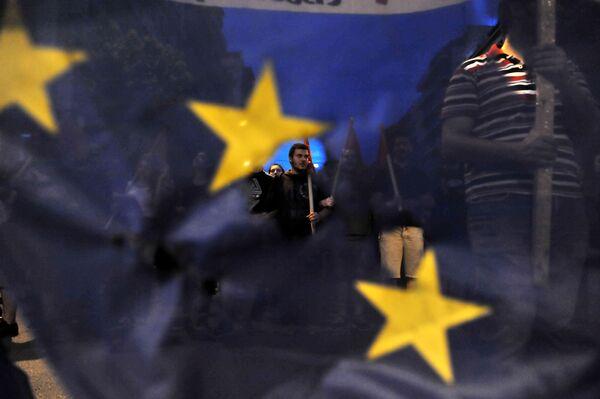 Uczestnicy akcji protestacyjnej w Grecji - Sputnik Polska