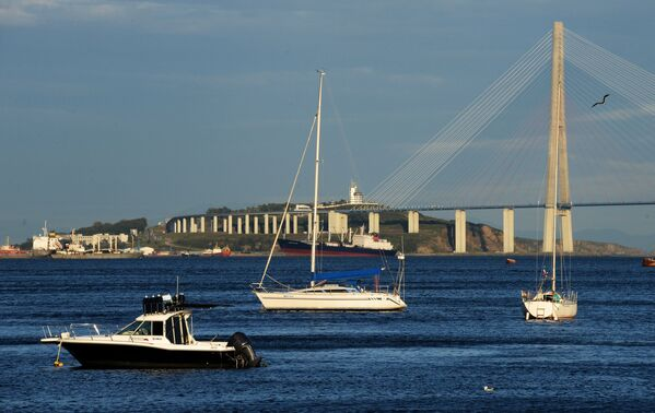 Widok na wantowy Most Rosyjski nad Wschodnim Bosforem. - Sputnik Polska