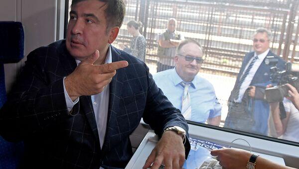 Były prezydent Gruzji Michaił Saakaszwili w pociągu kursującym na Ukrainę - Sputnik Polska