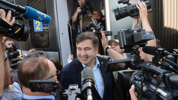 Michaił Saakaszwili na dworcu w Przemyślu - Sputnik Polska
