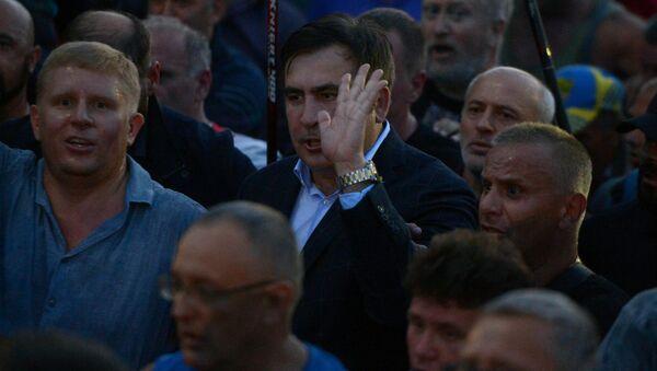 Były prezydent Gruzji Michaił Saakaszwili przy przejściu granicznym Szeginie - Sputnik Polska