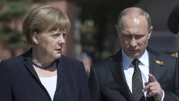 Angela Merkel i Władimir Putin w Moskwie. Zdjęcie archiwalne - Sputnik Polska