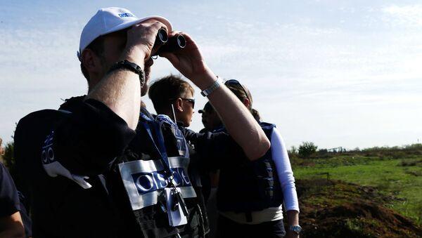 Obserwatorzy OBWE we wsi Pietrowskoje podczas wycofywania sił DRL - Sputnik Polska
