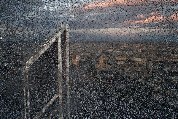 """Rozbite okno 89 piętra Wieży Federacja Wschód centrum biznesowego """"Moskwa-City"""", gdzie budowana jest najwyższa platforma widokowa w Europie - Sputnik Polska"""