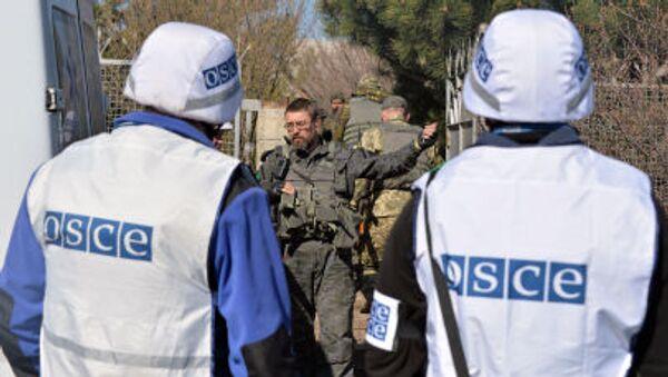 Obserwatorzy OBWE rozmawiają z ukraińskim wojskowym - Sputnik Polska