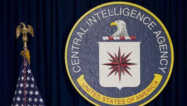 Emblemat CIA i amerykańska flaga - Sputnik Polska