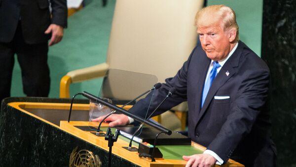 Prezydent Stanów Zjednoczonych Donald Trump na posiedzeniu Zgromadzenia Ogólnego ONZ w Nowym Jorku - Sputnik Polska