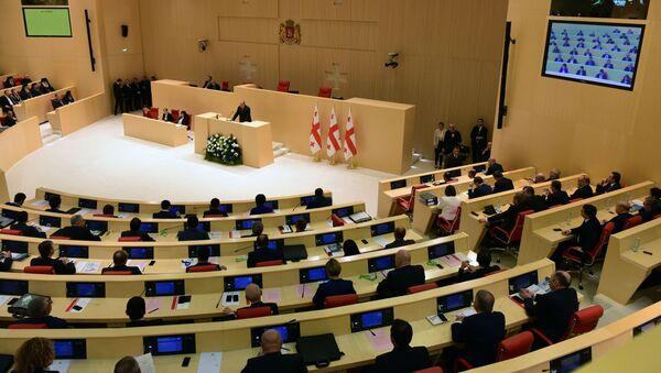 Prezydent Gruzji Giorgi Margwelaszwili przemawia na posiedzeniu gruzińskiego parlamentu. Zdjęcie archiwalne - Sputnik Polska