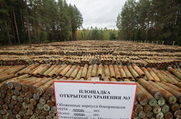 Wypalone pociski z substancjami trującymi przeznaczone do utylizacji w ramach programu likwidacji resztek broni chemicznej - Sputnik Polska