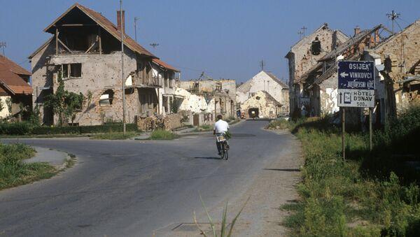 Zniszczone podczas wojny domy w mieście Vukovar, Chorwacja - Sputnik Polska