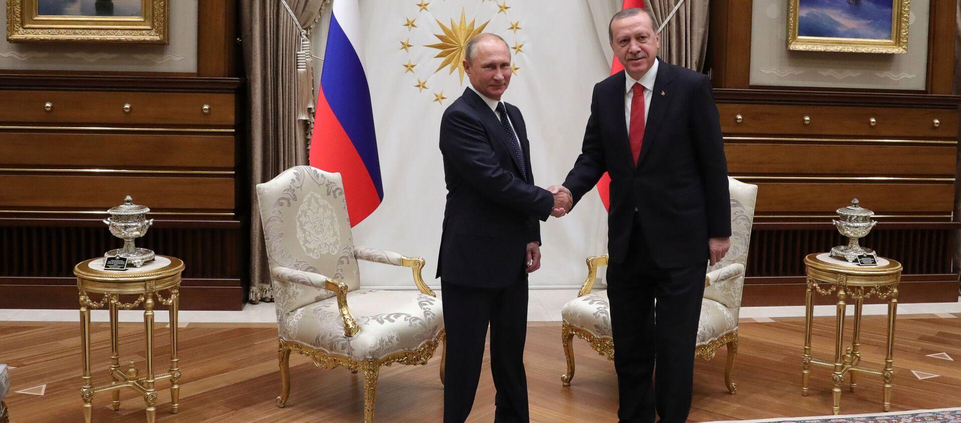 Prezydent Rosji Władimir Putin i prezydent Turcji Recep Tayyip Erdogan podczas spotkania w Ankarze - Sputnik Polska, 1920, 03.04.2018