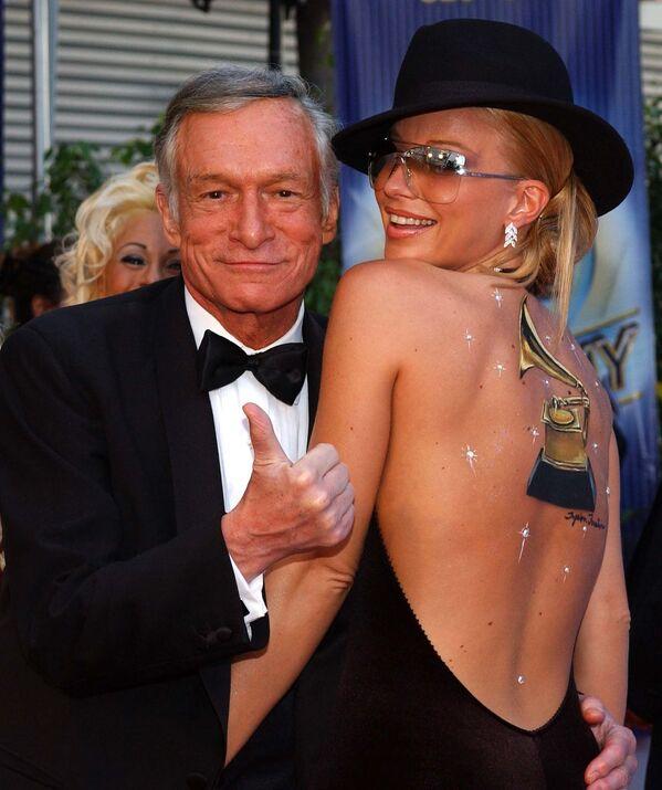 Założyciel magazynu Playboy Hugh Hefner podczas 44. ceremonii rozdania nagród Grammy w Los Angeles - Sputnik Polska