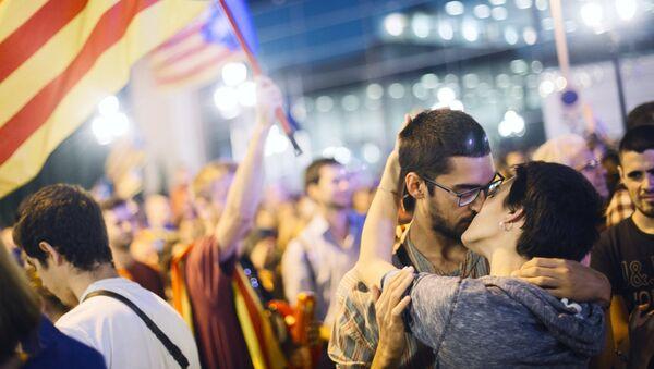 Akcja w Barcelonie poświęcona referendum niepodległościowemu w Katalonii. - Sputnik Polska