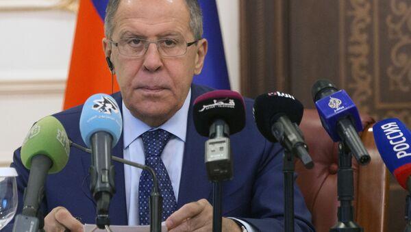 Minister spraw zagranicznych Rosji Siergiej Ławrow na konferencji prasowej. Zdjęcie archiwalne - Sputnik Polska