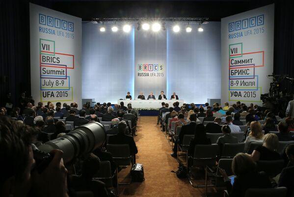 Podpisanie deklaracji, podsumowującej wyniki 7 szczytu BRICS w Ufie - Sputnik Polska