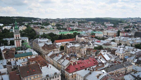 Widok na starą część miasta Lwów  - Sputnik Polska