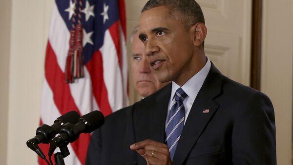 Prezydent USA Barack Obama po rozmowach w sprawie irańskiego programu jądrowego w Waszyngtonie - Sputnik Polska