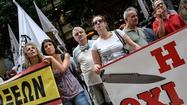 Demonstracja przed Ministerstwem Finansów w Atenach - Sputnik Polska