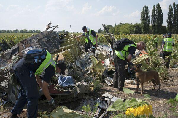 Międzynarodowi eksperci z misji poszukiwawczej na miejscu katastrofy malezyjskiego Boeinga 777 w obwodzie donieckim - Sputnik Polska