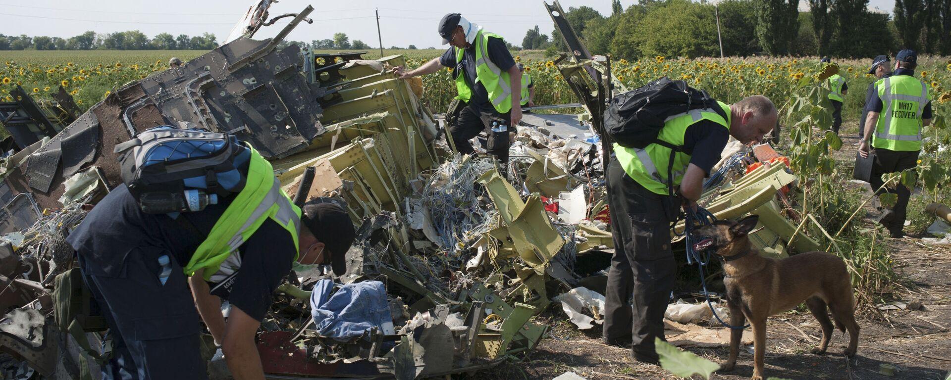 Międzynarodowi eksperci z misji poszukiwawczej na miejscu katastrofy malezyjskiego Boeinga 777 w obwodzie donieckim - Sputnik Polska, 1920, 22.07.2021