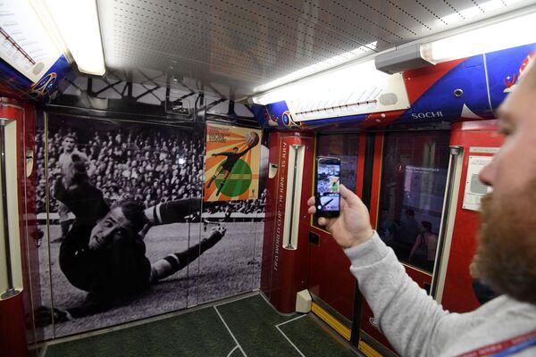 Wagon oficjalnego pociągu MŚ-2018, poświęconego historii Mistrzostw Świata w Piłce Nożnej - Sputnik Polska