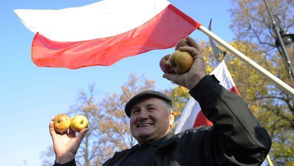 Protesty rolników w Warszawie przeciwko zakazowi eksportu owoców i warzyw do Rosji - Sputnik Polska