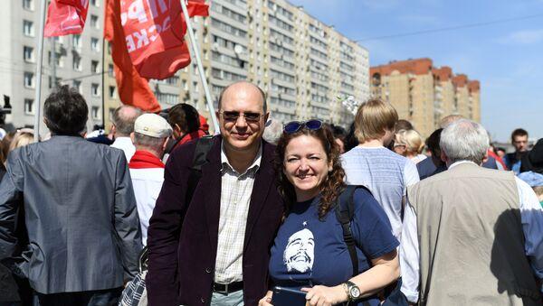 Agnieszka Wołk-Łaniewska i Leonid Swiridow. Moskwa. 1 maja 2017 roku. - Sputnik Polska