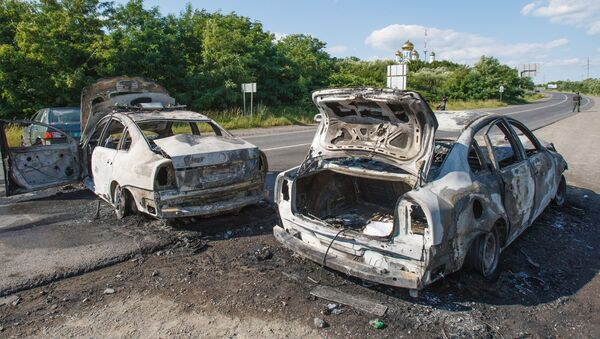 Spalone samochody na drodze w Mukaczowie - Sputnik Polska